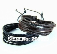 Leather bracelet/ Wrap Leather Braided Rope Bracelet/Fashion Leather Jewelry/ Multilayer Genuine Leather Bangle for Men Women