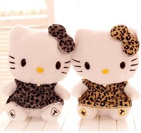 Super cute hot sale soft stuffed hello kitty PlushToy doll, leopard print kitty cat , graduation & birthday gift  for girls, 1pc