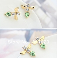 hot new fashion bee design stud earrings  free shipping