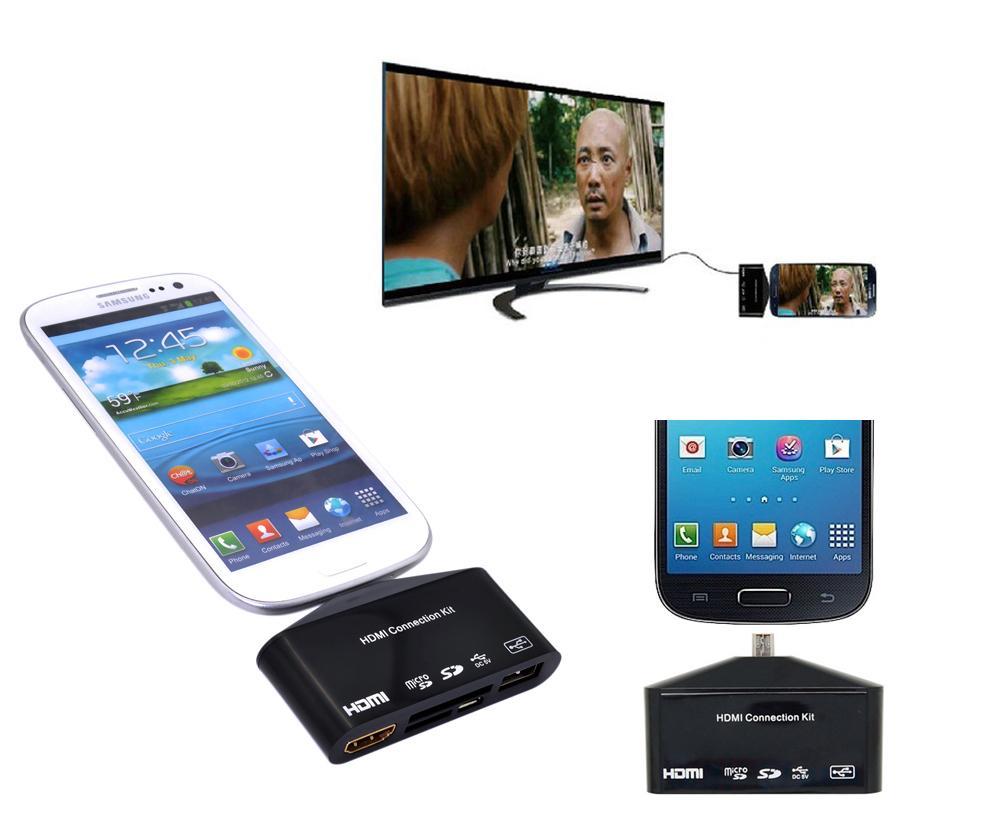 Micro USB OTG SD TF Card Reader Writer HUB MHL to HDMI HDTV TV Adapter for Samsung Galaxy S3 S4 Note2 i9300 i9500 N7100 #3235(China (Mainland))
