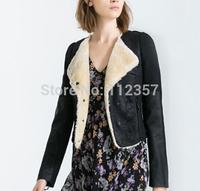 FS20 European Fashion Patchwork Slim Faux Fur Jacket Outerwear  S/M/L