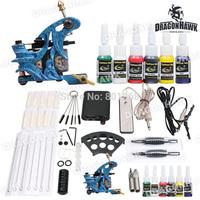Complete 1 tattoo gun Machine  with Tattoo Inks and Tattoo Power Supply Grip Tips of  tattoo kits