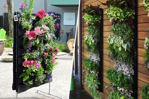 Diy 4-Pocket Vertical parede plantador decoração de jardim Wall mounted crescer sacos vegetal Flower Pot(China (Mainland))