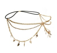 European charming fashion gold plated alloy clear rhinestone chains leaves hair band 3Pieces/lot