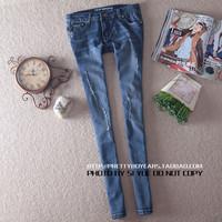 New Arrival new 2014 brand fashion women jeans woman denim pencil ripped jeans hole elastic slim blue pencil jeans