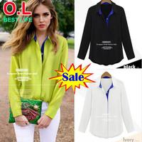 S M L Newest Autumn Wear Fashion Long Sleeve Women Shirts Turndown Collar Spell Color Chiffon Blouses Ivory Yellow Black OL9892