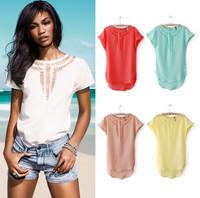 Women Fashion Hollow Chiffon Short Sleeve Tops Hot T Shirt Blouse 34 36 38