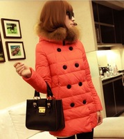 2015 New Winter Fashion Down Parkas Women's Thick Double Breasted Fur Collar Coat Candy Color Long Duck Down Jacket For Girl