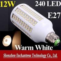 FreeShipping 6PCS Energy saving 200V-230V white/warm white LED Bulb lamp E27 12W 240 PCS 3528 LED bulb 1200LM corn light bulb