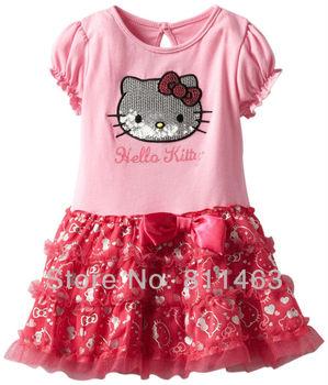 2013  hot selling girls short sleeve paillette hello kitty dress / children fashion dress / wholesale 5pcs/lot / free shipping