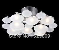 Free shipping  Dia430mm*H190mm 8 lights European Modern Creative White frosted Glass ceiling lights