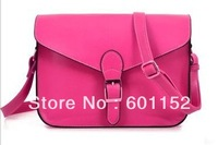 new 2013 candy color fashion buckle preppy style one shoulder crossbody women's handbag brief vintage bag free shipping