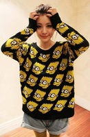 2013 Bart Simpson Pullover Sweater Women Cartoon Sweaters Vintage Loose Outerwear Hoodies Top Casue
