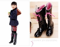 Coeeo children shoes girls  boots high-leg boots black shiny princess  tall boots