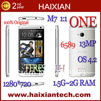 free shipping 4.7 inch HGC one 1:1 m7 phone mtk6589 quad core 1280x720 IPS sreen  android mobile phone