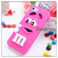 10pcs/lot Cute Cartoon Soft Silicone Rainbow Bean 3D MM case for iphone 5,Silicone Finger Bean case,+Free Shipping