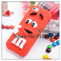 10 colors available MOQ 1piece Cute Cartoon Soft Silicone Rainbow Bean 3D MM  Finger Bean case for iphone 5