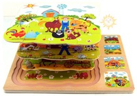 Wooden, jigsaw puzzle carton 3 layers farming,FREE SHIPPING wholesale,Educational toys,preschool, kids,children, TOYS & GIFTS