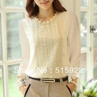 S-XXL 2013 HOT autumn new women's chiffon shirt long sleeve lace shirt Slim was thin lace plus size top chiffon blouse 2069