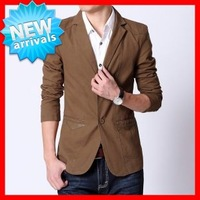 2013  New   Arrive  Men's  Fashion   Slim  Single Breasted  Blazer  , Black / Khaki / Coffee ,Asian Size M-3XL G1608