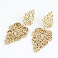 2014 New Arrival Fashion Earrings Jewelry Hot Wholesale Metal hollow lamp temperament Earrings Free Shipping