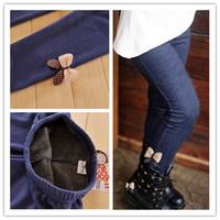 2014 kids girls jean bow pants, cotton cashmere pants, elastic waist legging warm pants winter spring retail