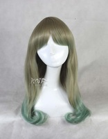 free shipping 65cm women japanese harajuku lolita gradient green wave anime wigs cosplay wigs