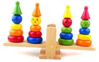 Wooden Rainbow Tower Clown Balance,seesaw,Educational,preschool, kids,children, toys & gifts, FREE SHIPPING wholesale