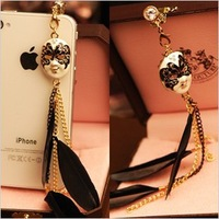 $15 Free Shipping Hot Sale New Baroque Mask Feather Tassel Chain Anti Dust Plug for Cell Phone kpop Ear Jack Earphones Cap
