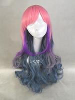 free shipping women harajuku lolita pink purple blue mixed multi colors gradient wave heat-resistant anime wigs