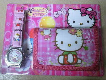 XMAS Gift Cute 1pcs  Hello kitty Watches wristwatches with XMAS Gift + Purses Wallets