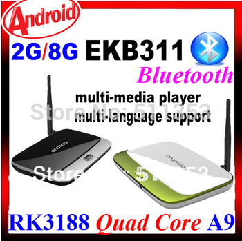 Hottest Set Top Box 2GB Ram 8GB Rom Quad Core RK3188 Cortex-A9 HD Multi-Media Player Android TV Box MK888 K-R42 CS918 EKB311