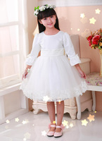 2014 New Arrival Elegant Ball Gown Pink Flower Girl Dresses Cute Two Shoulder O-neck Lace Appliques With Bow Sash Lovely Gowns