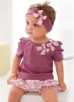 2013 Little Kids Casual Costume Baby Purple 3pcs Clothing Sets Children 3pcs Suits Headband+Tees+Shorts Wholesale Free Shipping