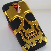 3D PC Silicon Silicone Fashion Skull Bronze Case Cover For Samsung Galaxy S4 SIV i9500 9500 S 4 IV  1pcs/lot