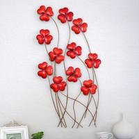 Modern Home Decoration Metal Wall Art Hand Made Creative Red Flowers as Metal Wall Decor 37*73cm