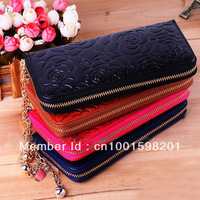 Free Shipping +Genuine Leather Wallets !Rose Flower Printed Style Wallets For Women ,Lady Party Dress Wallet