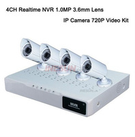 Home Complete 4CH Channle 1.0MP HD 720P 3.6mm lens Network IP NVR System Kit
