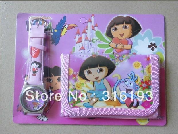 LOVELY Dora the Explorer Boots The Monkey Kids Watch & Money Purse Wallet 10pcs(China (Mainland))