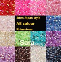 Free Shipping 10x 10000pcs/bag 3mm Flatback 14 section Round Shape Jelly AB Rhinestone/ Nail Art Decoration / Nail Gems /