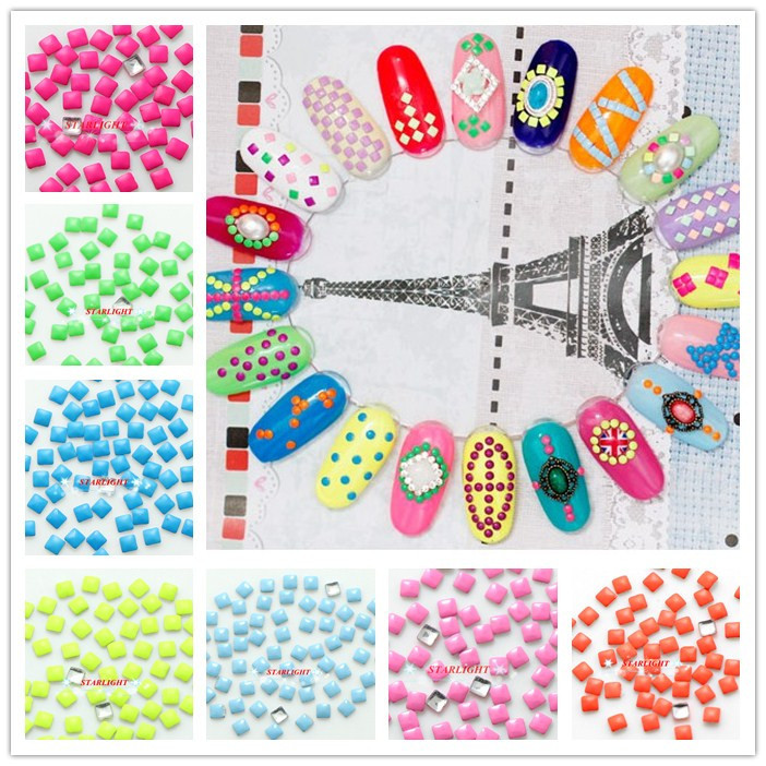 Mix Candy Color 7000PCS 2MM Square Fluorescent 3D Nail Art Decorations Metallic Nails Supplies Studs Rhinestones(China (Mainland))