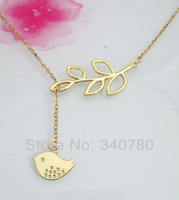 Free Shipping 6pcs ON SALE Gold Bird and Branch charm pendant necklace Lariat Necklace with gold chain Gifts For her NK010
