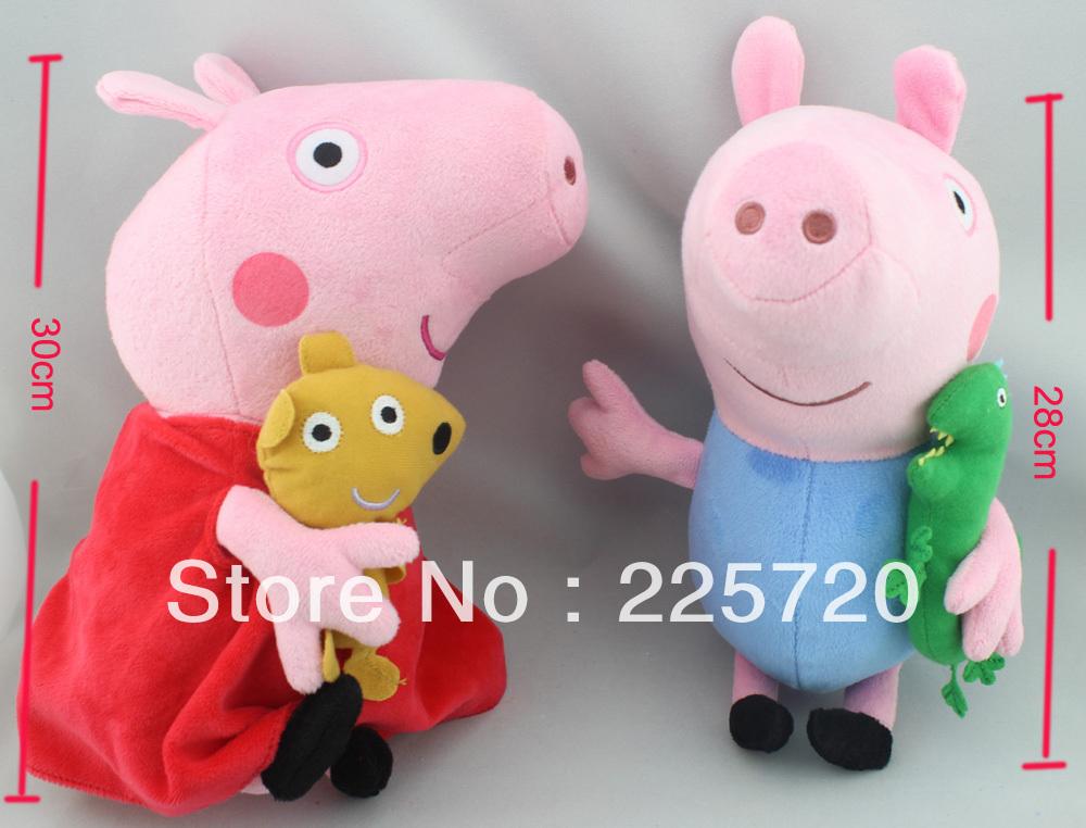 2pcs / set Peppa Pig e George porco cor de rosa Pelúcia Para Meninas Frete Grátis(China (Mainland))