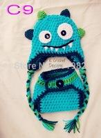 free shipping, Handmade Crochet Baby  light blue monster beanie Hat Match Diaper Cover Set  for Photo Props