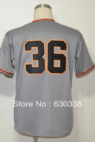 #36 Gaylord Perry Jersey Men's Authentic 1962 Grey Throwback Gaylord Perry Baseball Jersey Made in China Jersey Manufacturer(China (Mainland))