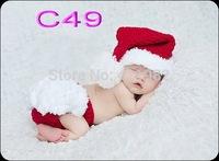 free shipping,Newborn Baby Hat+Diaper Cover set Crochet Photo Prop Xmas Santa Costume