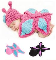 Newborn hat butterfly style infant Photography knit hat handmade Crochet cap children Apparel/Accessories baby Sleep hat 3-6M
