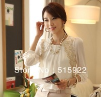S-XXXL Free Shipping 2013 hot Fashion Tops Korean Style Elegant Office Style Slim Chiffon Shirts With Lace For Women 9104