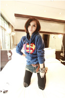 Free Shipping 2013 Autumn/Winter Womens Cute Superman Logo Hoodie Casual Pullover Coat Tops Outwear ww002