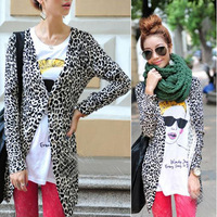 C03* 2013 New Celebrity Style Vintage Animal Leopard Cheetah Print Fit Knitted Autumn Winter Cardigan Sweater